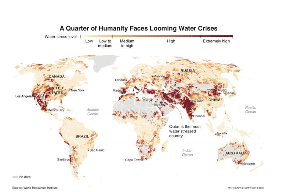 Ressources naturelles. La carte de la pénurie d'eau qui menace un quart de l'humanité